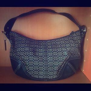 Coach monogram black leather & gray handbag purse